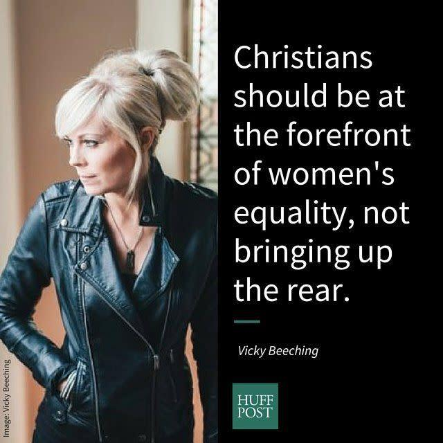 "<i>Beeching, a theologian, broadcaster, and LGBT activist, on why Christians can be feminists:</i><br><br>""To me, feminism means championing the rights and equality of women. Jesus treated women in ways that were truly radical for his era, so I've argued for years that Christ should be considered a feminist. The church has seemed afraid of the feminist movement, unsettled by it somehow; branding it as harsh and shrill. That seems bizarre as Christians should be at the forefront of women's equality, not bringing up the rear! Many denominations still don't let women preach, become Elders, or get ordained, so there's much work to be done. 'Christian feminism' is not an oxymoron; it's a deeply compatible, healthy response to the injustices that still exist within the faith community."""