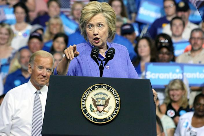 <p>Vice President Joe Biden and Presidential candidate Hillary Clinton pictured discussing their shared commitment to building an America that is stronger together and an economy that works for everyone, not just those at the top at Riverfront Sports in Scranton, Pa on August 15, 2016. (Star Shooter/MediaPunch/IPX/AP) </p>