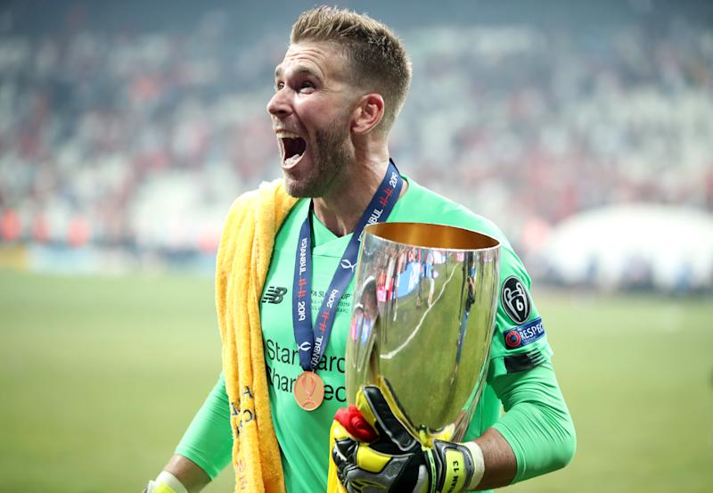 Liverpool's Adrian lifts the trophy during the UEFA Super Cup Final at Besiktas Park, Istanbul. (Photo by Nick Potts/PA Images via Getty Images)