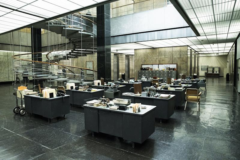 To create the L.A. Times offices, Berghoff outfitted the L.A. Department of Water and Power's John Ferraro Building with retro desks and office equipment.