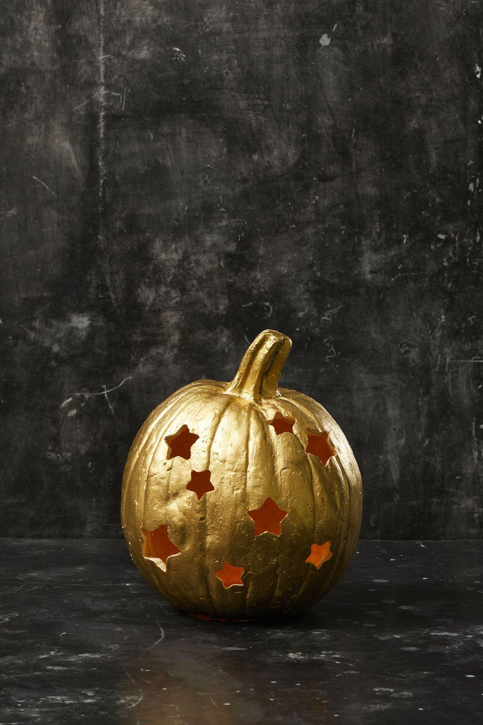 """<p>Use a rubber mallet or a dishcloth-covered hammer to gently pound a cookie cutter into a hollowed pumpkin. Remove the cut-out pieces and repeat as desired.</p><p><a class=""""link rapid-noclick-resp"""" href=""""https://www.amazon.com/Tmflexe-Stars-Cookie-Cutter-Pack/dp/B08DD7RZQQ/?tag=syn-yahoo-20&ascsubtag=%5Bartid%7C10055.g.238%5Bsrc%7Cyahoo-us"""" rel=""""nofollow noopener"""" target=""""_blank"""" data-ylk=""""slk:SHOP COOKIE CUTTERS"""">SHOP COOKIE CUTTERS</a></p>"""