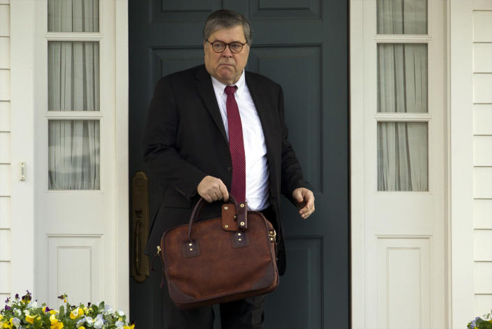 FILE - In this March 22, 2019, file photo, Attorney General William Barr leaves his home in McLean, Va. Barr told Congress on March 29, to expect version of special counsel's Russia report by mid-April. (AP Photo/Jose Luis Magana)