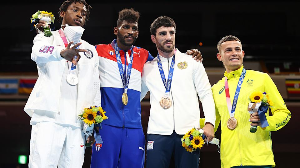Harry Garside won the hearts of Australian sporting fans after winning bronze in the boxing at the Tokyo Olympics. (Photo by Buda Mendes/Getty Images)