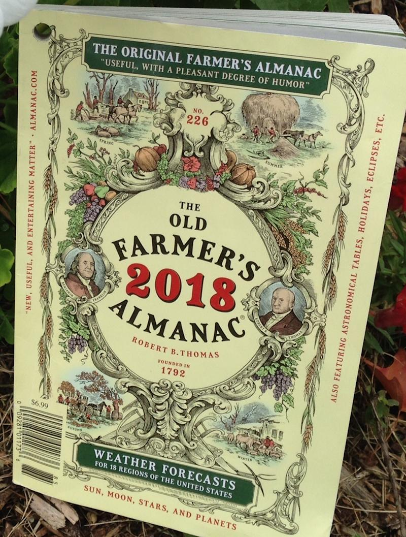 This Aug. 29, 2017 photo shows the cover of the 2018 edition of The Old Farmer's Almanac in Concord, N.H, The annual almanac,  which claims an 80 percent accuracy rate in its forecasts, predicted the possibility of a major hurricane along the Atlantic Seaboard, but didn't have the same insight about the Gulf Coast. The 226th edition comes out Tuesday, Sept. 12.  (The Old Farmer's Almanac via AP)