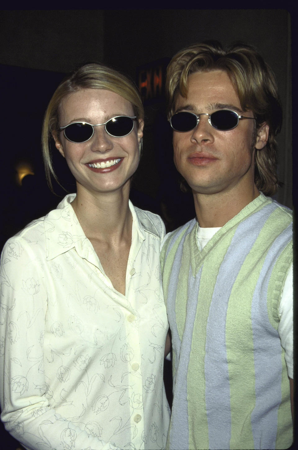 <p>Hollywood went into meltown during the '90s when Brad Pitt and Gwyneth Paltrow started dating. They split in 1997, one year after Brad proposed. They were also big fans of dressing alike. Check out their matchy-matchy sunglasses. Photo: Getty Images </p>