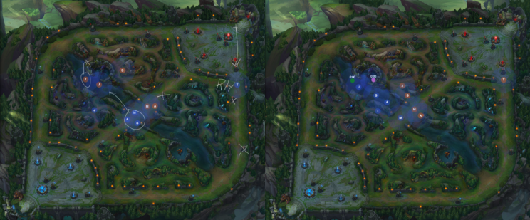 In the first image, blue side's top laner uses Rift Herald near inhibitor. In the second, Blue Team can secure Baron vision because Red Top had to respond (Rift Kit)
