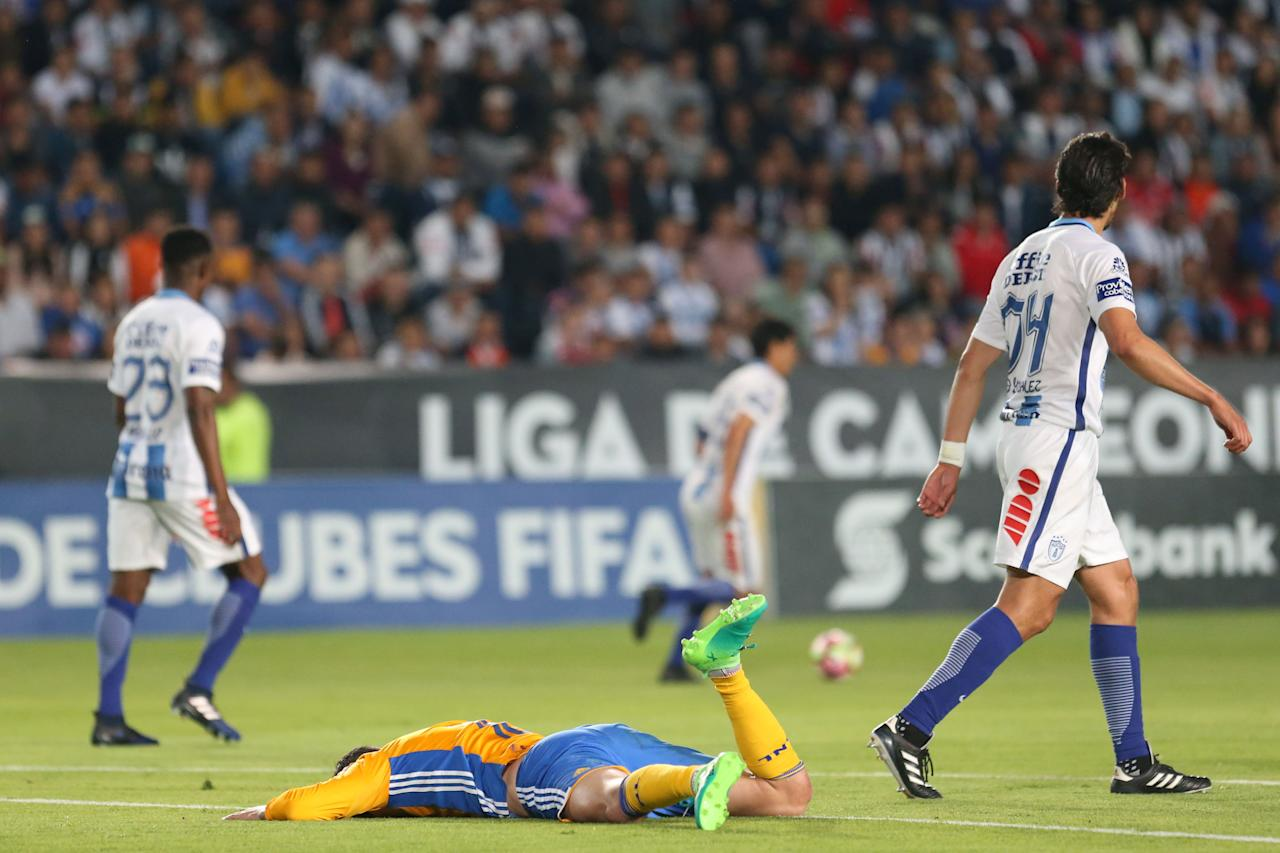 Soccer Football - CONCACAF Champions League - Mexico's Pachuca v Mexico's Tigres - Second leg of CONCACAF Champions Cup final soccer match - Hidalgo stadium, Pachuca, Mexico, 26/04/2017. Andre Pierre Gignac of Mexico's Tigres reacts. Picture taken April 26, 2017. REUTERS/Edgard Garrido