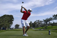 Bryson DeChambeau takes a practice swing on the 18th tee during a practice round of the U.S. Open Golf Championship, Tuesday, June 15, 2021, at Torrey Pines Golf Course in San Diego. (AP Photo/Marcio Jose Sanchez)