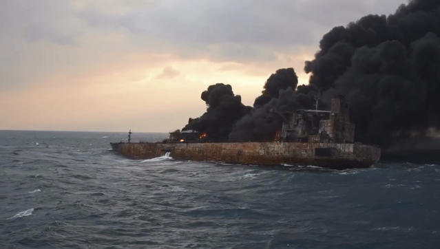 <p>Smoke rises from a fire aboard the oil tanker Sanchi in the East China Sea off the eastern coast of China on Jan. 11, 2018. Rescue ships looking for missing crew members from the oil tanker Sanchi have expanded their search area to more than 2,600 square kilometers (1,000 square miles) as Chinese state television reported Friday that maritime authorities still have not found any survivors, or put out the blaze onboard the ship. (Photo: Ministry of Transport via AP) </p>