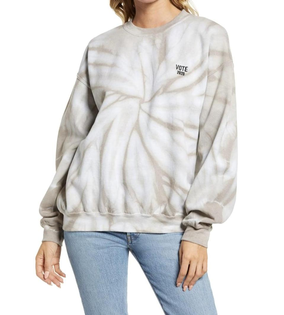 <p>With this <span>Treasure and Bond Vote Collection Tie Dye Sweatshirt</span> ($45), you can flex your civic engagement and try out one of the biggest fashion trends of this year.</p>