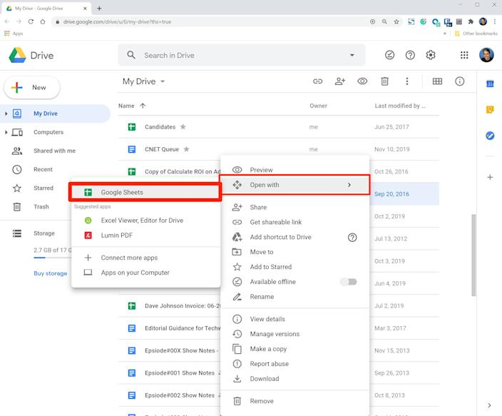 """The """"Open with"""" menu command converts all sorts of files to native Google Docs."""