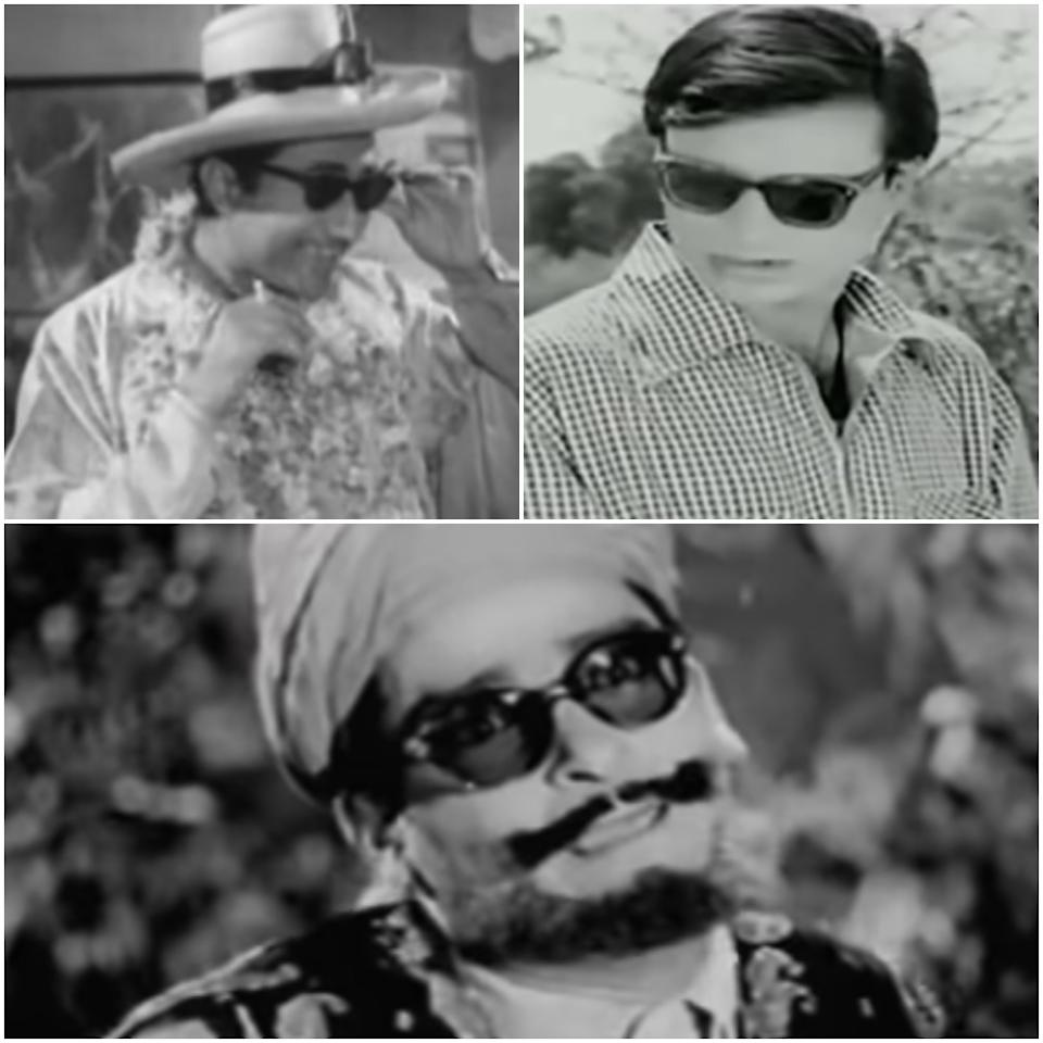 With the women at their trendiest, could the men be far behind? The top choice for them: the '50s style patterned fully rimmed wayfarers. Stills from Funtoosh (1956), Solva Saal (1958) and Tumsa Nahin Dekha (1957)
