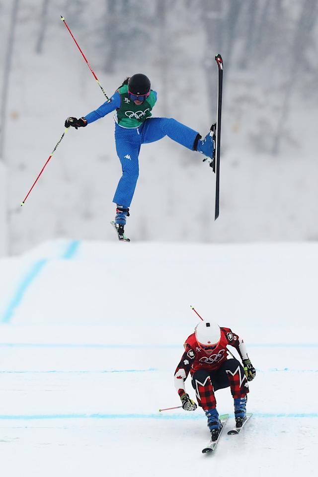<p>Debora Pixner of Italy crashes with Brittany Phelan of Canada during the Freestyle Skiing Ladies' Ski Cross 1/8 Finals on day 14 of the PyeongChang 2018 Winter Olympic Games at Phoenix Snow Park on February 23, 2018 in PyeongChang, South Korea.<br> (Photo by Ryan Pierse/Getty Images) </p>