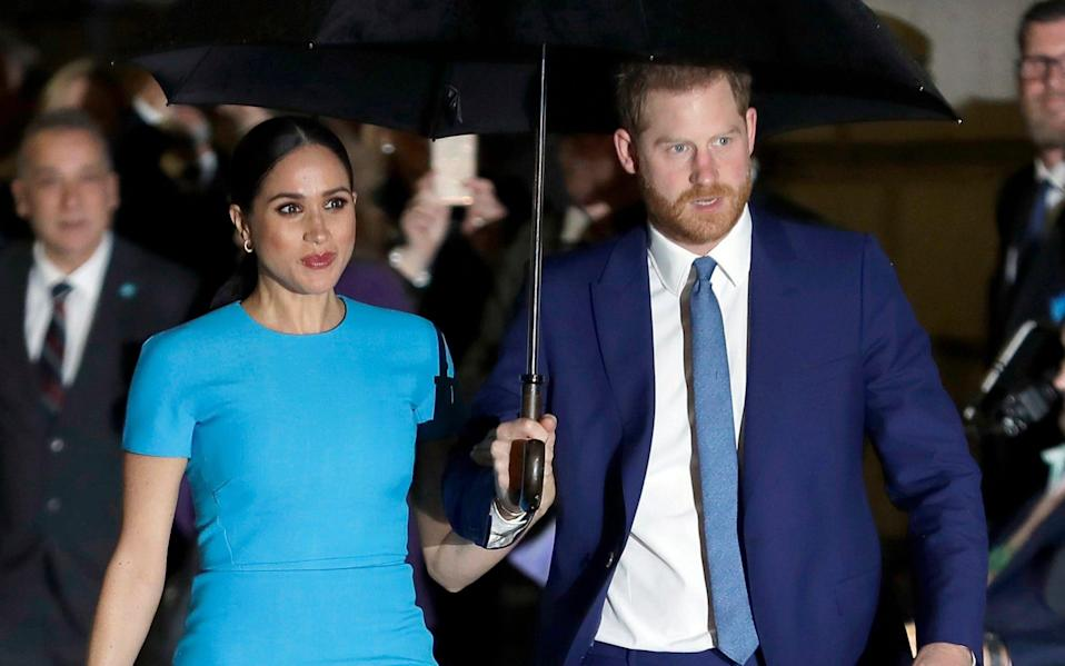 Prince Harry and Meghan, the Duke and Duchess of Sussex at the annual Endeavour Fund Awards in London in March 2020. A judge in London is hearing the latest stage in the Duchess's privacy lawsuit as she tries to keep the names of five of her friends out of the public eye - Kirsty Wigglesworth/AP
