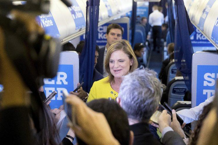 Hillary Clinton's communications director, Jennifer Palmieri, speaks to members of the media on Sunday. (Photo: Andrew Harnik/AP)