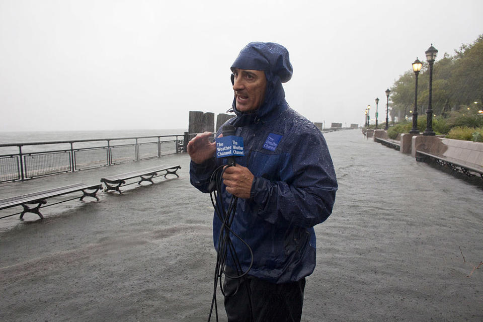 The Weather Channel's Jim Cantore is an unwelcome sight. (Photo: Jonathan Saruk/The Weather Channel via Getty Images)