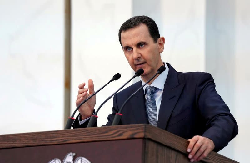 FILE PHOTO: Syria's President Bashar al-Assad addresses the new members of parliament in Damascus