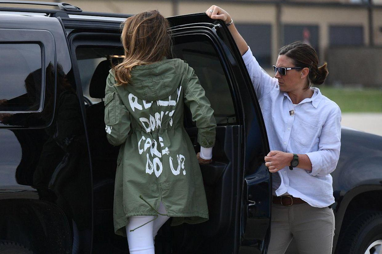 <em>'That' Jacket – Melania Trump wore a jacket that said 'I really don't care, do u?' on a trip to see migrant children who had been separated from their parents (Picture: AFP/Getty)</em>