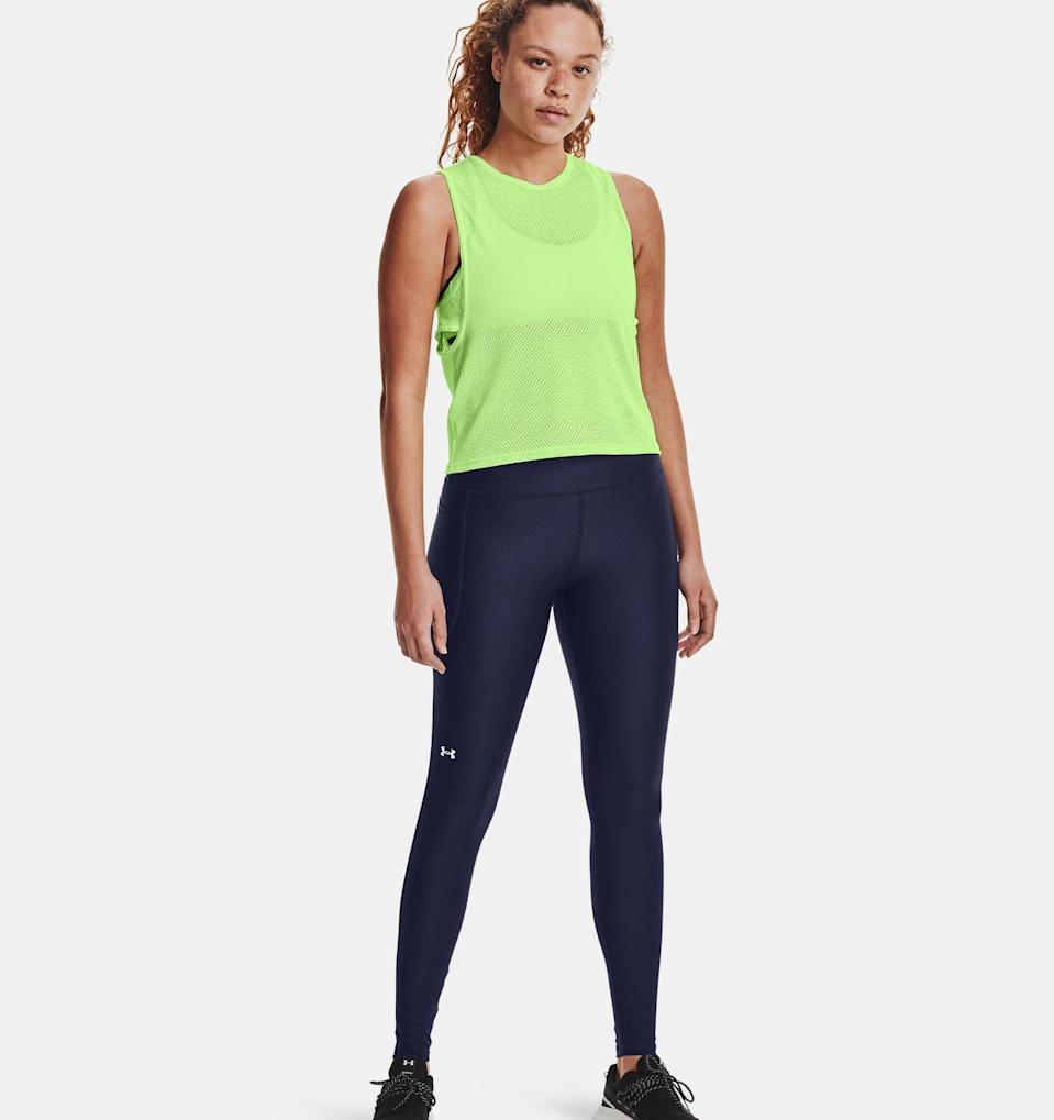 """<p>""""I know, heat tech clothing isn't the most exciting thing to talk about in April, but the mornings are still pretty chilly here in New York City. I love these <span>Under Armour HeatGear® No-Slip Waistband Leggings</span> ($50) to wear for my 7 a.m. outdoor bootcamp classes in the park; like the name says, they keep my legs warm and the waistband doesn't slip (this is usually a problem for me... still working on those booty gains)."""" - CS</p>"""