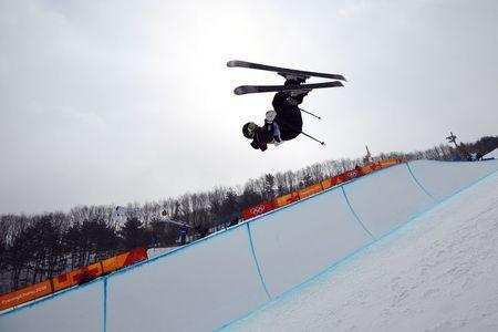 Freestyle Skiing - Pyeongchang 2018 Winter Olympics - Men's Ski Halfpipe Training - Phoenix Snow Park - Pyeongchang, South Korea - February 22, 2018 - Byron Wells of New Zealand trains. REUTERS/Dylan Martinez