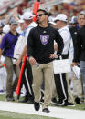 Holy Cross head coach Bob Chesney reacts on the sideline during the first half of a college football game against Boston College, Saturday, Sept. 8, 2018, in Boston. (AP Photo/Mary Schwalm)
