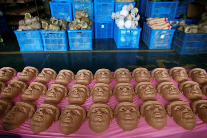 Laying out Trump masks