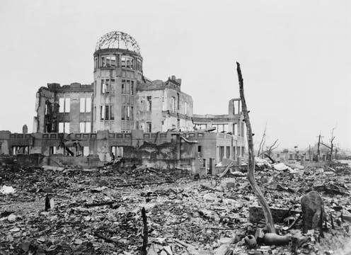 """<span class=""""caption"""">Devastation: how Hiroshima looked the day after the atom bomb was dropped.</span> <span class=""""attribution""""><span class=""""source"""">Everett Collection via Shutterstock</span></span>"""