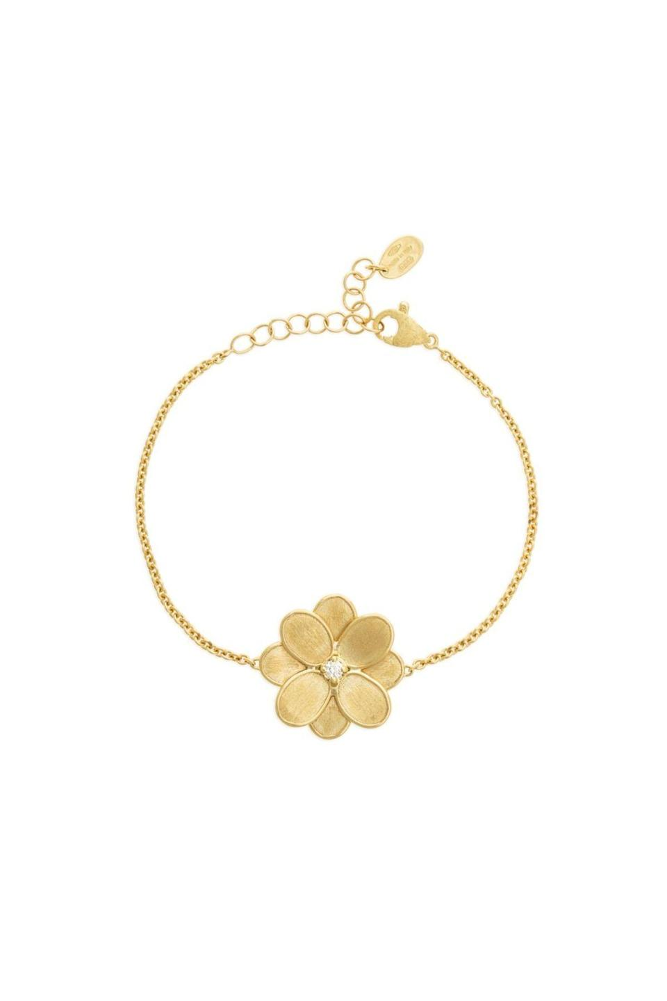 """<p><strong>Marco Bicego</strong></p><p>marcobicego.com</p><p><strong>$1930.00</strong></p><p><a href=""""https://us.marcobicego.com/products/petali-single-flower-bracelet"""" rel=""""nofollow noopener"""" target=""""_blank"""" data-ylk=""""slk:Shop Now"""" class=""""link rapid-noclick-resp"""">Shop Now</a></p><p>Two things that are always in style: a dainty chain and a floral detail. </p>"""