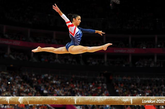 Alexandra Raisman of the United States competes on the beam during the Artistic Gymnastics Women's Beam final on Day 11 of the London 2012 Olympic Games at North Greenwich Arena on August 7, 2012 in London, England. (Photo by Michael Regan/Getty Images)