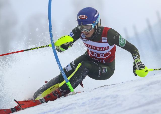United States' Mikaela Shiffrin competes during an alpine ski, women's slalom in Levi, Finland, Saturday, Nov. 23, 2019. (AP Photo/Alessandro Trovati)