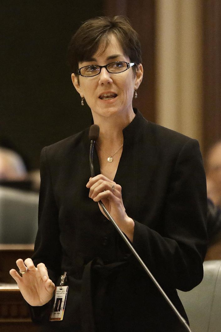 Illinois Rep. Kelly Cassidy, D-Chicago, debates concealed carry gun legislation while on the House floor during session at the Illinois State Capitol Friday, May 24, 2013, in Springfield Ill. (AP Photo/Seth Perlman)