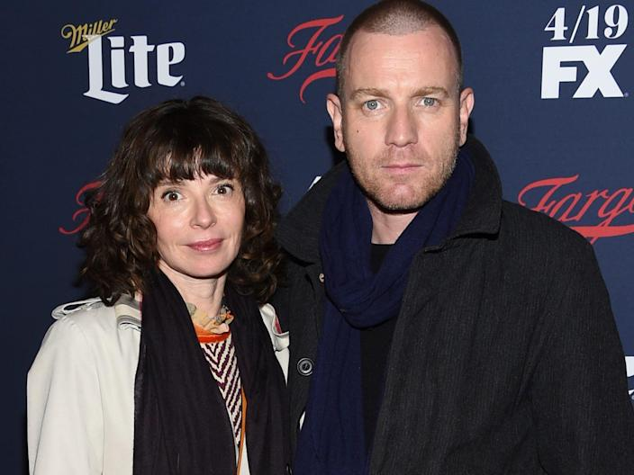 Eve Mavrakis and Ewan McGregor at a red carpet event in April 2017 in New York City.