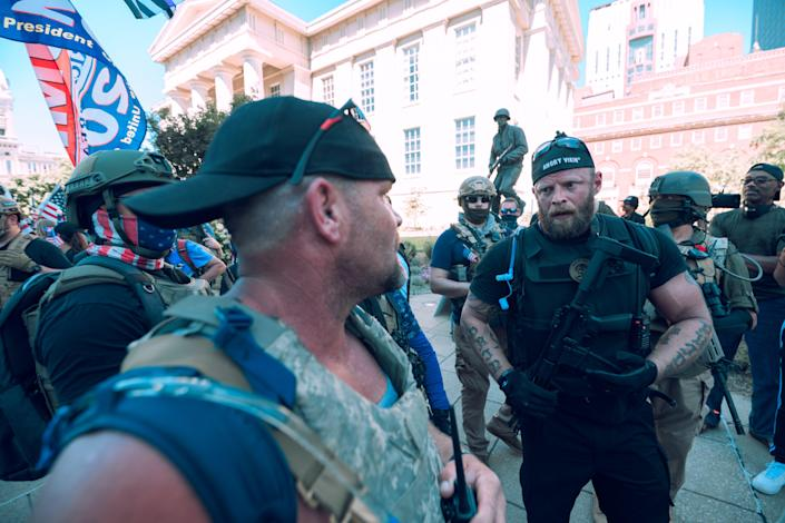 Far-right groups such as the Angry Vikings (pictured in Kentucky on 5 September) are planning to patrol polling sites on Election Day (Getty Images)