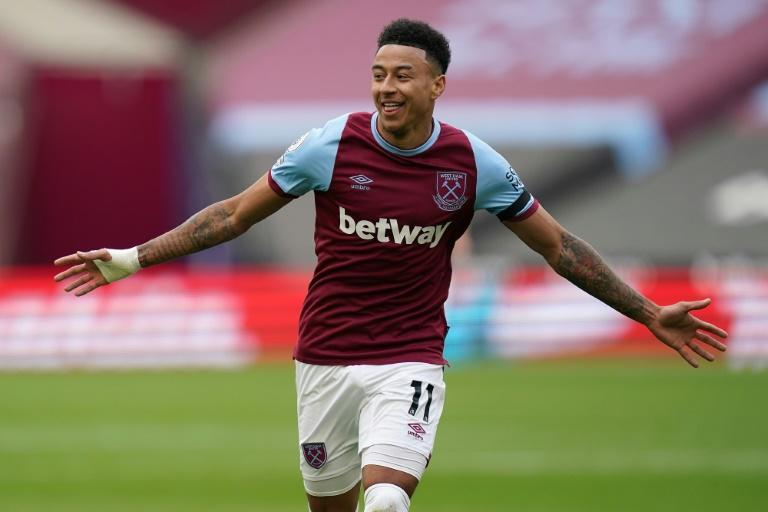 West Ham midfielder Jesse Lingard celebrates scoring against Leicester