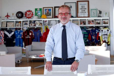 President of Lombardy Roberto Maroni poses in his office in Milan