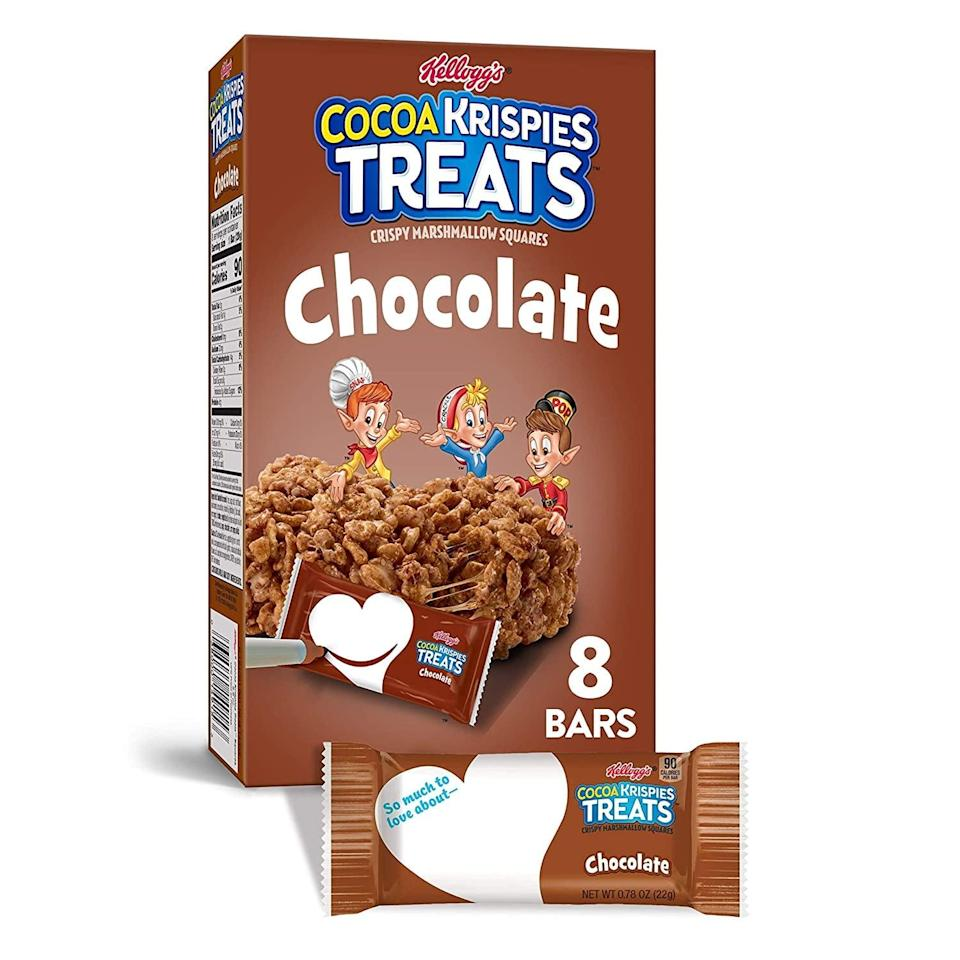 <p>I can never resist these sweet-tasting <span>Kellogg's Cocoa Krispies Treats</span> ($3). </p>
