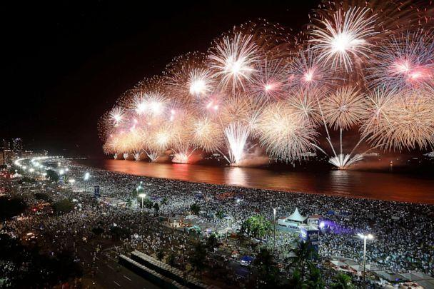 PHOTO: RIO DE JANEIRO, BRAZIL - JANUARY 01: Fireworks are seen on Copacabana beach during New Years Eve Celebration on January 1, 2020, in Rio de Janeiro, Brazil. (Wagner Meier/Getty Images)