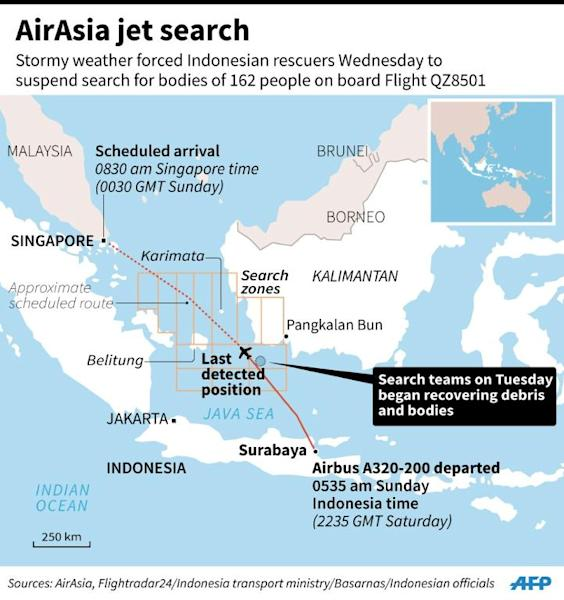 Map showing the area in the Java Sea where search teams began recovering debris and bodies from the crashed AirAsia Flight QZ8501