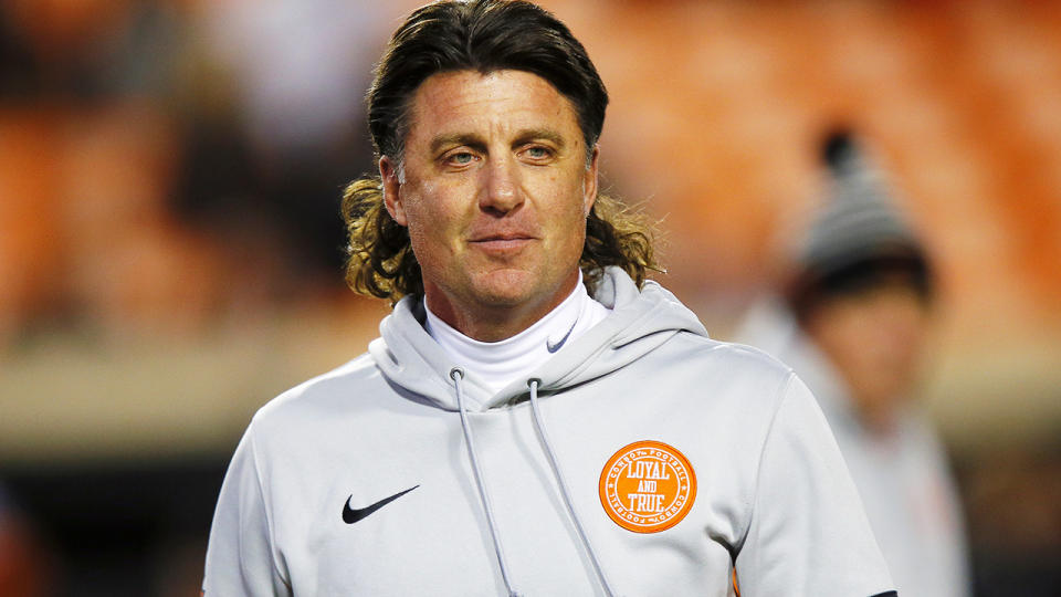 Mike Gundy, pictured here during an Oklahoma State game against Oklahoma Sooners in 2019.