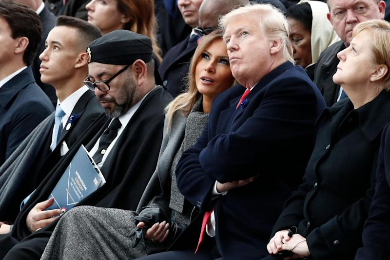 Moroccan King Mohammed VI, US First Lady Melania Trump, US President Donald Trump and German Chancellor Angela Merkel attend the ceremony: AFP/Getty Images