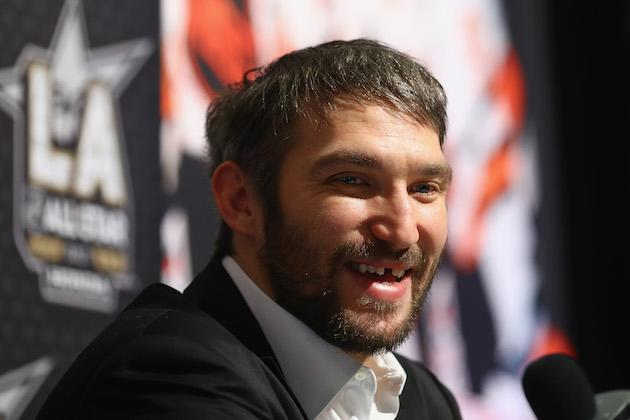 """LOS ANGELES, CA – JANUARY 28: <a class=""""link rapid-noclick-resp"""" href=""""/nhl/players/3637/"""" data-ylk=""""slk:Alex Ovechkin"""">Alex Ovechkin</a> #8 of the Washington Capitals reacts during 2017 NHL All-Star Media Day as part of the 2017 NHL All-Star Weekend at the JW Marriott on January 28, 2017 in Los Angeles, California. (Photo by Bruce Bennett/Getty Images)"""
