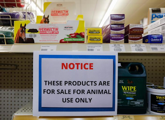 A sign at a Missouri store warns customers that Ivermectin is