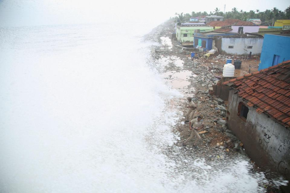 A huge tidal wave due to the cyclone Tauktae at a seashore in Puthurai, in Kanyakumari district