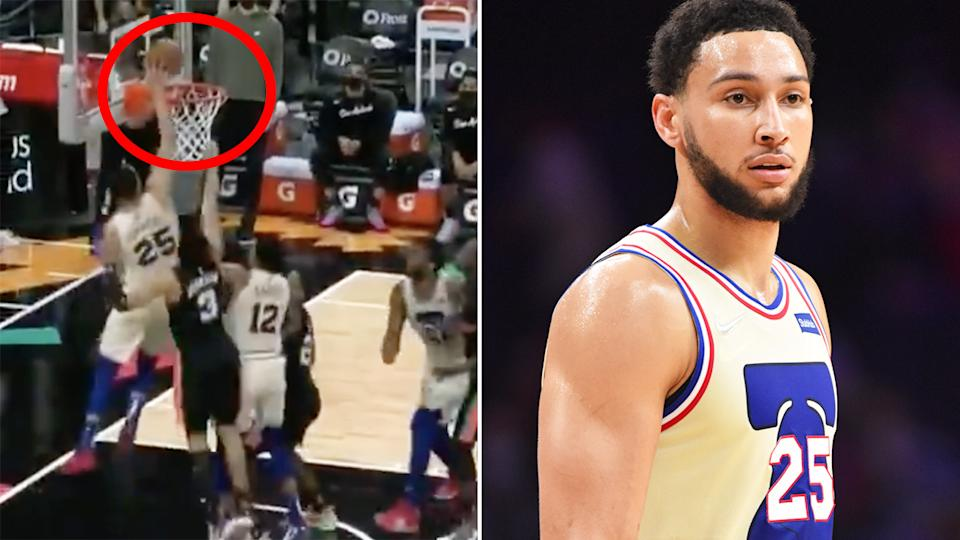 Ben Simmons tipped in a Joel Embiid miss to hand the Philadelphia 76ers a crucial victory over the San Antonio Spurs in overtime. Pictures: Sportscentre/Getty Images