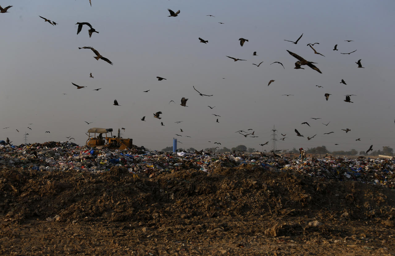 In this Tuesday, Dec. 4, 2018 photo crows and black kites fly next to a tractor working on a garbage-dump on the outskirts of Islamabad, Pakistan. As politicians haggle at a U.N. climate conference in Poland over ways to limit global warming, the industries and machines powering our modern world keep spewing their pollution into the air and water. The fossil fuels extracted from beneath the earth's crust _ coal, oil and gas _ are transformed into the carbon dioxide that is now heating the earth faster than scientists had expected even a few years ago. (AP Photo/Anjum Naveed)