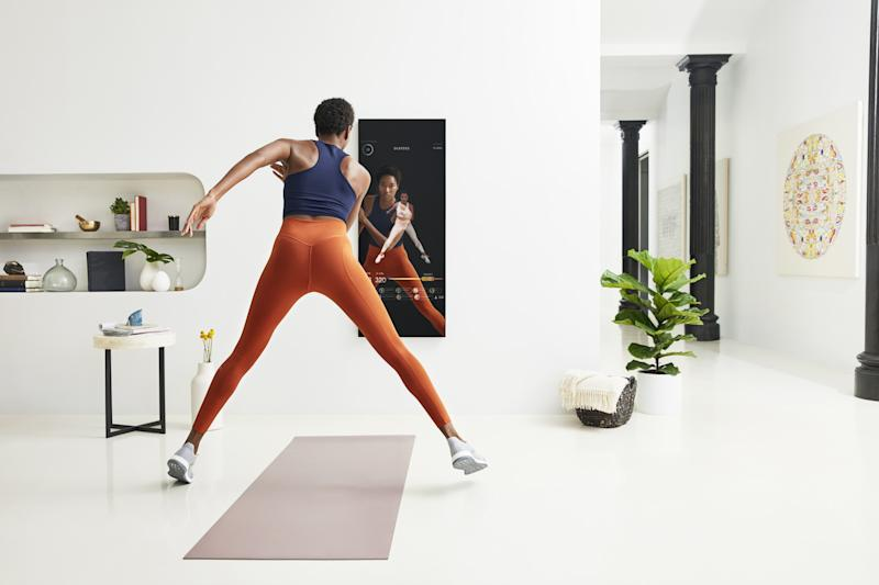 Mirror, the workout streaming device that reflects, so you can watch yourself and a trainer simultaneously.