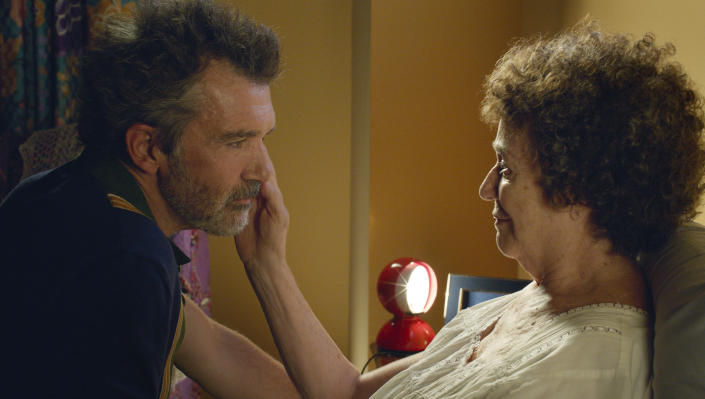 """This image released by Sony Pictures Classics shows Antonio Banderas, left, and Julieta Serrano in a scene from """"Pain and Glory."""" On Monday, Dec. 9, 2019, the film was nominated for a Golden Globe for best motion picture in a foreign language. Banderas was also nominated for an Oscar for leading actor. (Manolo Pavón/Sony Pictures Classics via AP)"""