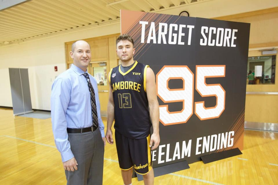 Nick Elam poses last year with Dalton Pepper, who sealed the Broad Street Brawlers' victory in the first game ever played under the Elam Ending. (Special to Yahoo Sports/Courtesy Nick Elam)