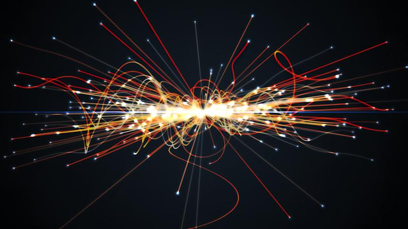 Particles collision in Hadron Collider. Astrophysics concept. 3D rendered illustration.