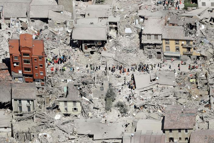 <p>AUG. 24, 2016 — This aerial photo shows the damaged buildings in the town of Amatrice, central Italy, after an earthquake. The magnitude 6 quake struck at 3:36 a.m. (0136 GMT) and was felt across a broad swath of central Italy, including Rome where residents of the capital felt a long swaying followed by aftershocks. (AP Photo/Gregorio Borgia) </p>